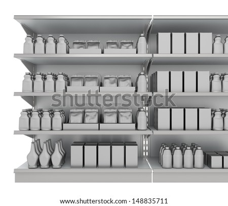 blank supermarket products on shelf from front. 3d image - stock photo