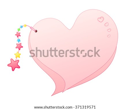 Blank Sweet Pink Heart Shaped Overlap Paper Cards Decorated with Hearts and Hanging Ornaments Beaded Tassel Isolated on White Background Illustration - stock photo
