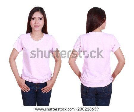 blank t-shiet set (front, back) with female isolated on white background