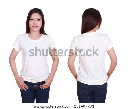 blank t-shiet set (front, back) with female isolated on white background - stock photo