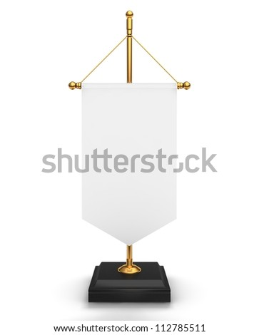 blank table info flag on white background - stock photo