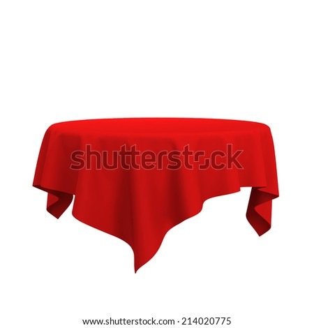 Elegant Blank Tablecloth. 3d Illustration Isolated On White Background