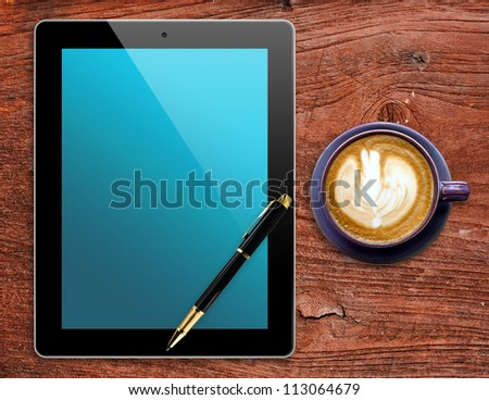 Blank Tablet,pen and cup of coffee on wooden background - stock photo