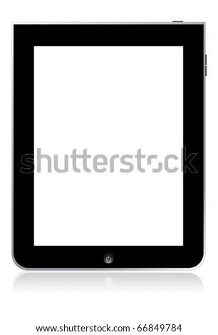 blank tablet touchscreen isolate on white with reflect shadow