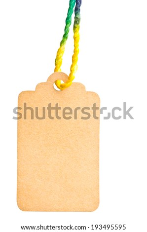 Blank tag isolated against a white background, clipping path - stock photo