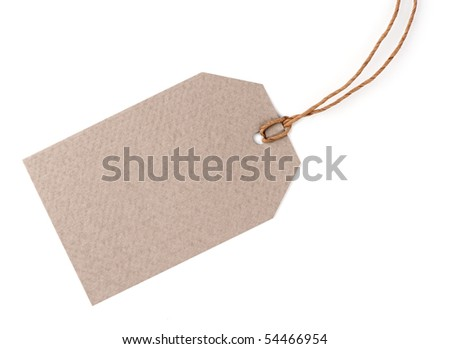 Blank tag isolated on white - stock photo
