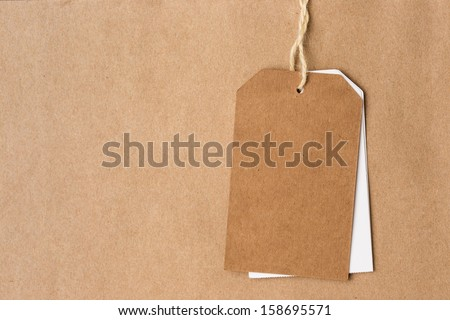Blank tag label on paper background