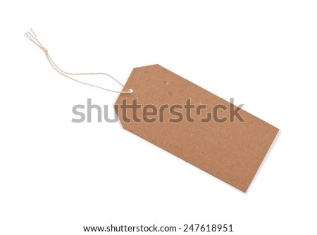 Blank tag. Price tag, gift tag, sale tag, address label on write