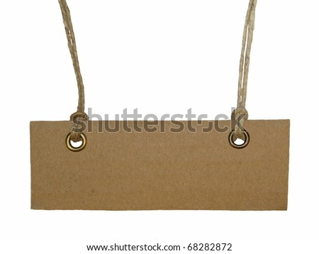 Blank tag tied isolated on white background - stock photo