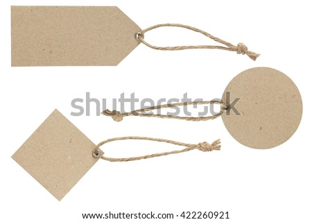 Blank tag tied. Price tag, gift tag, sale tag, address label isolate on white with clipping path - stock photo