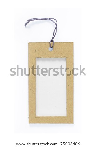 Blank tag tied. Price tag, gift tag, sale tag, address label isolated over white - stock photo