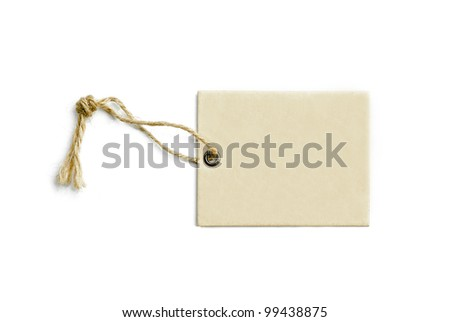 blank tag tied with a brown string isolated on a white background - stock photo