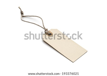 Blank tag tied with brown string isolated on white background