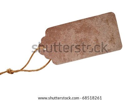 Blank tag tied with brown string. Price tag, gift tag, sale tag, address label. - stock photo