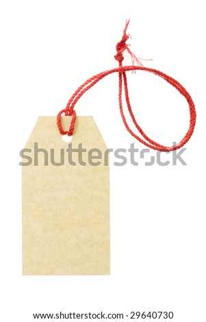 Blank tag tied with pink string isolated on white background. Price tag, gift tag, sale tag, address label, etc. - stock photo