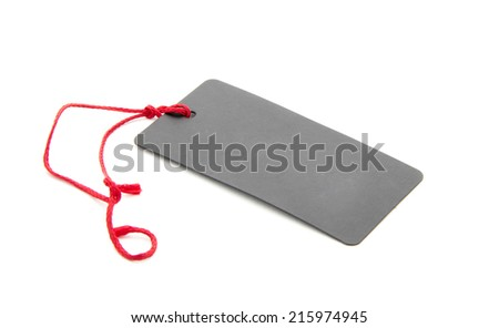blank tag tied with red string isolated on white background - stock photo