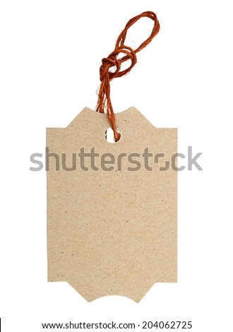 Blank tag tied with string.  - stock photo