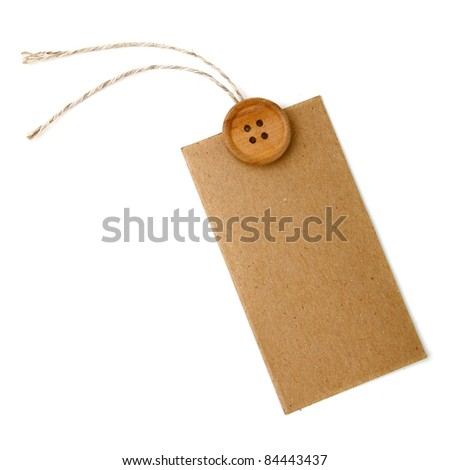 Blank tag tied with string and wood button. Price tag, gift tag, sale tag, address label
