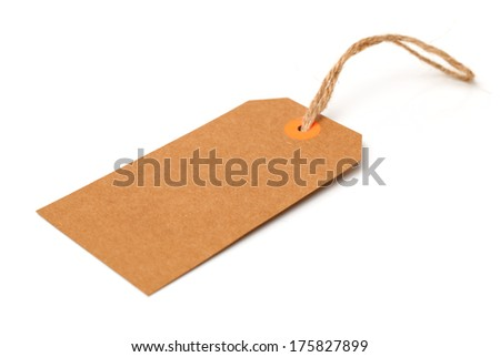 Blank tag tied with string. Price tag, gift tag, sale tag, address label on white background