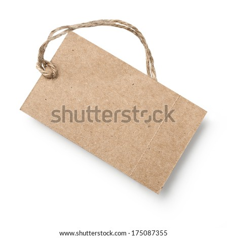 Blank tag tied with string. Price tag, gift tag, sale tag, address label. with clipping path