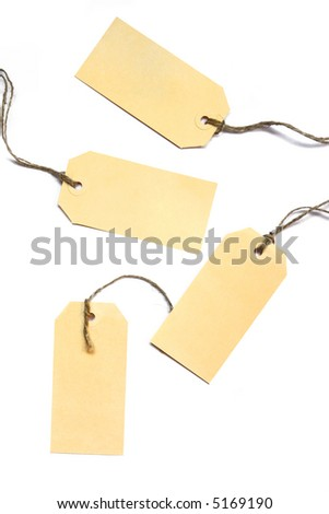 Blank tags tied with string - suitable as gift or price tags.