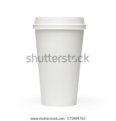 Blank take away coffee cup side view isolated on white background including clipping path - stock photo