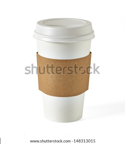 Blank take away coffee cup with clipping path on white background - stock photo
