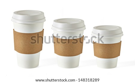 Blank take away coffee cups in three size isolated on white background - stock photo
