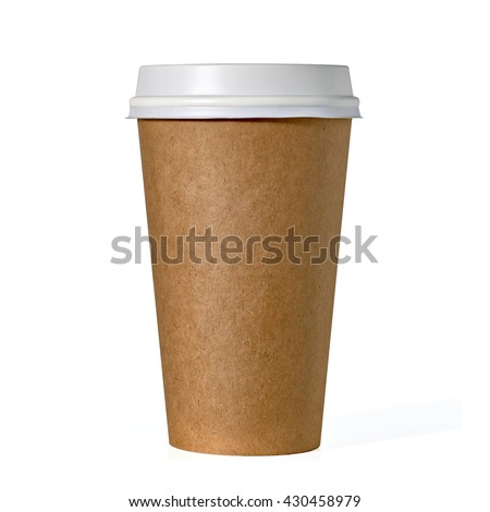 Blank take away kraft coffee cup isolated on white background including clipping path - stock photo