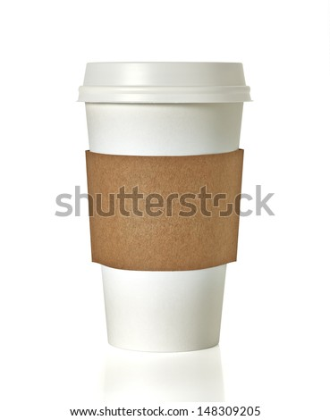 Blank takeaway coffee cup with clipping path on white background