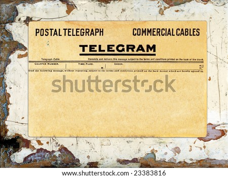 Blank telegram on grungy painted wood great for backgrounds. - stock photo