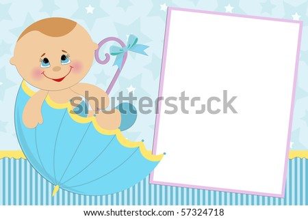 Blank template for baby's greetings card or photo frame in blue colors