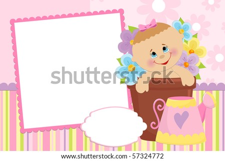 Blank template for baby's greetings card or photo frame in pink colors