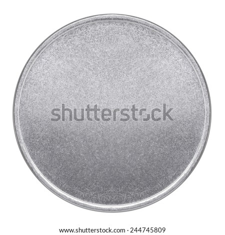 Blank template for coin or medal with metal texture