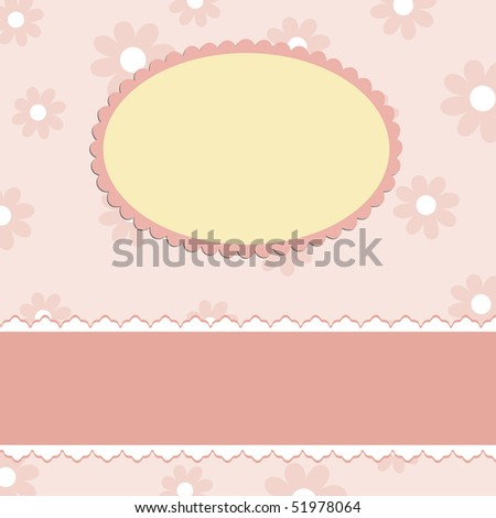 Blank template for greetings card in pink colors