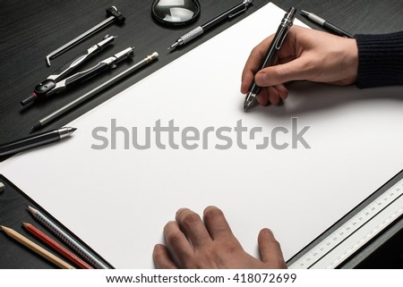 Blank template for sketch, hand drawn projects, mockups - stock photo