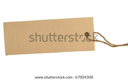 Blank textile tag isolated on white background