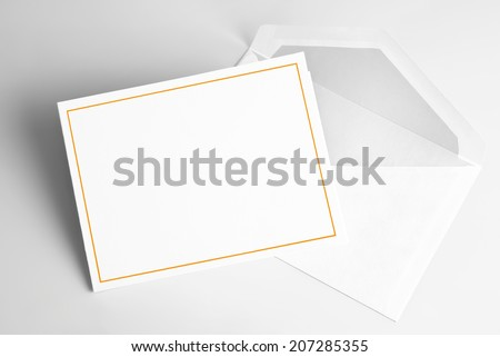Blank  thank you or greeting card and envelope - stock photo