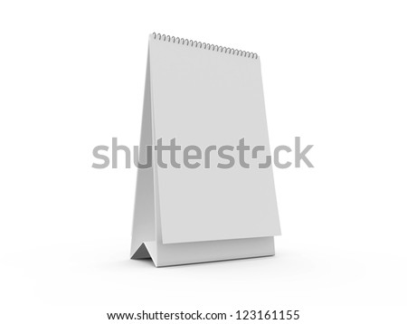 Blank thin and long desk calendar, isolated on white background. - stock photo