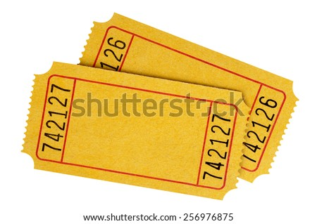 Blank ticket : two yellow movie or theater tickets isolated. - stock photo