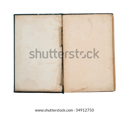 blank title page of open old, damaged book (isolated on white)