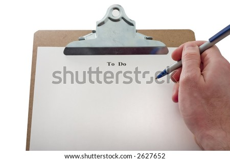 blank to do list on clip board