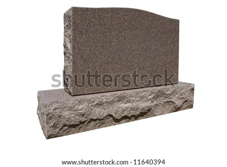 Blank tombstone ready for your message. Has work path for isolation. - stock photo