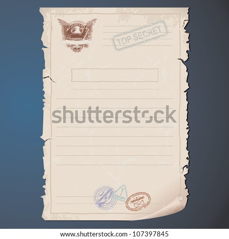 Blank Top Secret Document. Template for your Text and Design - stock photo
