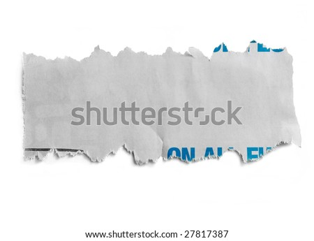 Blank torn newspaper, ready for your message. - stock photo