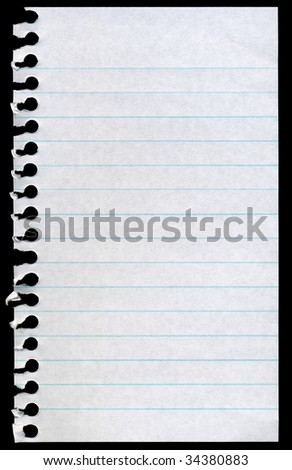 Blank torn notepaper page isolated on a black background. - stock photo