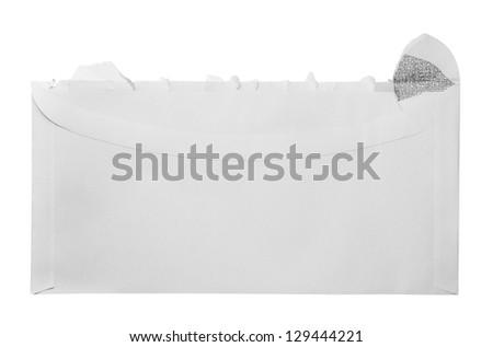 Blank torn open envelope - stock photo