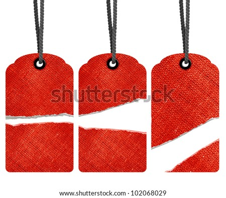 Blank torn red price tags isolated on white background with copy space and path. - stock photo