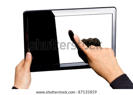 Blank touchpad in hands isolated on white - stock photo