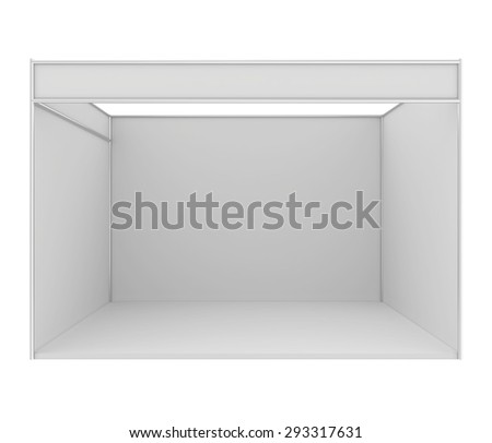 Blank trade exhibition stand. 3d render isolated on white background. - stock photo